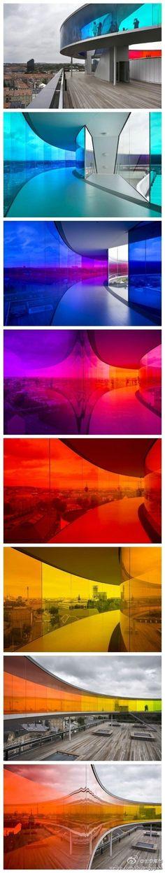 A gradient panorama in vibrant color. AROS, Aarhus, Denmark.