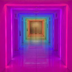 Lights transform this hallway neon aesthetic, rainbow aesthetic Rainbow Aesthetic, Purple Aesthetic, Neon Rainbow, Living At Home, Dream Rooms, Neon Lighting, Neon Colors, Light Art, Vaporwave