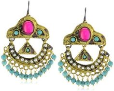 """ShopStyle: Gypsy """"Explore"""" Turquoise and Pearl Oxidized Gold Drop Earrings"""