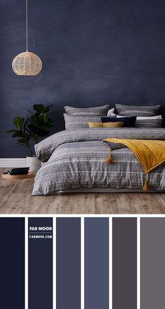 Grey Colour Scheme Bedroom, Blue Bedroom Colors, Dark Blue Bedrooms, Light Gray Bedroom, Relaxing Bedroom Colors, Bedroom Decor For Couples, Home Room Design, Wedding Themes, Wedding Colors