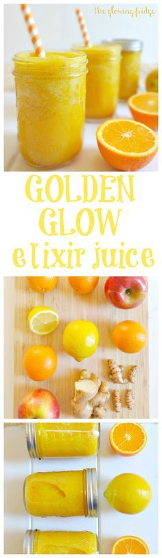 Pamper Your Glow with this immune-boosting + healthy 'Golden Glow Elixir' juice. It's thirst-quenching and beaming with life. This will leave you feeling refreshed, rejuvenated, energized and glowing!