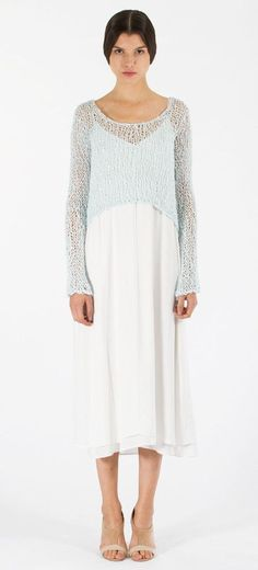 Loose Knit Cropped Sweater: Celestial Blue