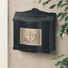 Black Wall Mount Mailbox with Polished Brass Leaf Emblem