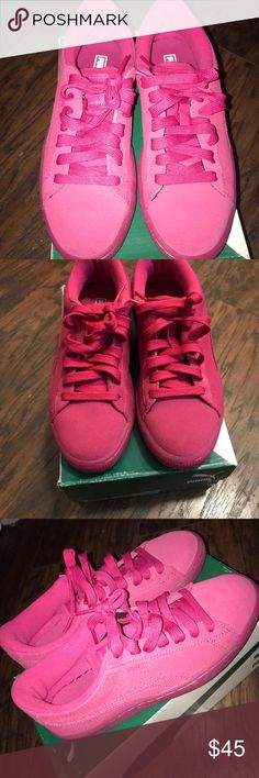 PUMAS (PINK SUEDE) Pink suede Pumas low top (Suede Iced Fluor) Puma Shoes Sneakers
