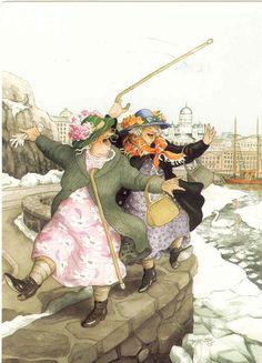 ~ Inge look! Without Losing Our Balance! Artist: Inge Look. Art And Illustration, Friends Illustration, Art Illustrations, Old Folks, Alphonse Mucha, Old Women, Finland, Illustrators, Cool Art