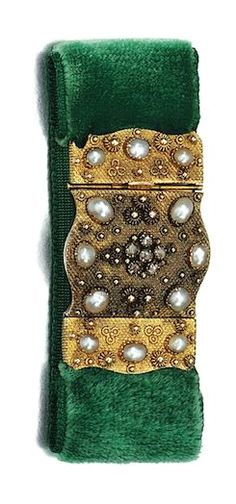 GOLD, PEARL AND DIAMOND BRACELET, 19TH CENTURY designed as a wide velvet band applied with a textured gold work clasp and plaque, set with pearls and rose-cut diamonds, circa 1820, length approximately 175mm.