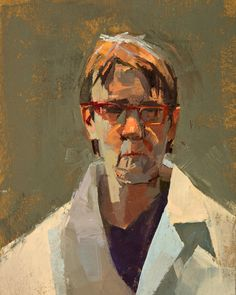 These remind me of the Ray Turner portraits, with the large brush strokes and really painterly quality. Another example of how the values in a face can be broken down into small shapes. Kind of geometric looking. sangram majumdar portraits - Google Search
