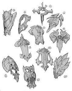 Darksiders Concept – Art Drawing Tips Weapon Concept Art, Armor Concept, Game Concept Art, Character Design References, Character Art, Shield Design, Prop Design, Fantasy Weapons, Monster
