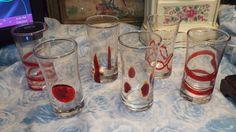 Pier 1 Spiral Line Glassware Shot Glass Set of 6 Red Swirl  Blown Glass