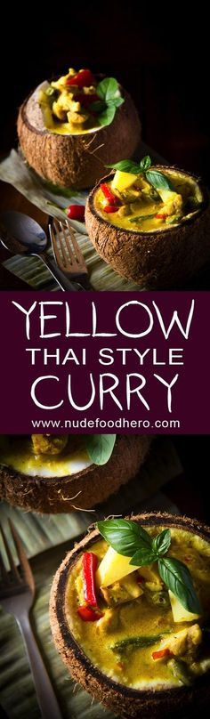 Thai Yellow-Curry Served in a Coconut
