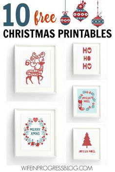 10 FREE Christmas printables for you. Just download and print for instant holiday decor!
