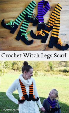 Halloween is right around the corner so if you are looking for a fairly easy and quick crochet project, try my Witch Legs Scarf pattern! Perfect to wear on a chilly trick-or-treating night! It would be fun to make in many colors. Crochet Scarf Easy, Crochet Fall, Crochet Scarves, Crochet For Kids, Free Crochet Scarf Patterns, Quick Crochet Gifts, Knitting Patterns, Poncho Patterns, Crocheted Scarf