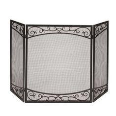 Uniflame Single Panel Bronze Finish Fireplace Screen with Doors ...