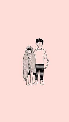 New Bts Landscape Wallpaper 2017 Ideas Cute Couple Drawings, Cute Couple Art, Cute Drawings, Cute Couples, Kawaii Wallpaper, Cartoon Wallpaper, Couple Illustration, Illustration Art, Landscape Illustration