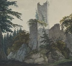 Carl Philipp Fohr (German, 1795–1818) The Ruins of Hohenbaden, 1814/15 Watercolor The Morgan Library & Museum, Thaw Collection