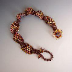 Amber Waves Beadwork Bracelet Artisan Glass Clasp