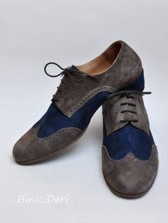 Men s tango shoe - suede - Grey   navy blue suede Derby wingtip 6d3741d122dd