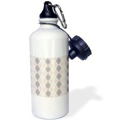 3dRose Pink and Grey Argyle Pattern - Fashion Art, Sports Water Bottle, 21oz