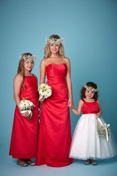Red Satin Traditional Strapless Bridesmaid And Flower Dresses Available In A Range Of Colours