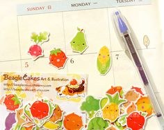 Fruits and Vegetables Stickers. by BeagleCakesArt Love Stickers, Sticker Shop, Japanese Style, Cake Art, Scrapbooks, Planners, Journals, Vintage Items, Etsy Seller