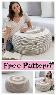 Stylish Crochet Ottoman & Free Pattern Stylish Crochet Ottoman – Free PatternThis Crochet Ottoman is great in any room that wants a relaxing feeling, and feet resting area. Crochet Pouf Pattern, Crochet Flower Patterns, Crochet Flowers, Crochet Hammock, Crochet Cushions, Diy Crochet Ottoman, Floor Pouf, Crochet Home Decor, Crochet Hearts