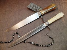 Bowie and Toothpick - Del Raso Knives. I love both knives but that dagger is absolutely gorgeous!