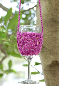 Crochet Wine Glass Holder, Wine Necklace, Wine Lanyard ...