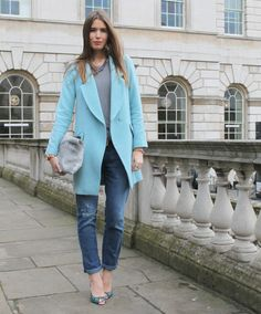 Baby blue coat #LFW #Fashiolista #Inspiration shot by http://www.thestylesandwich.com/