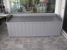 How to Build a Deck Storage Box - Lowe's Creative Ideas - could keep dog food in box