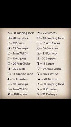 Spell out your FULL name for your workout!