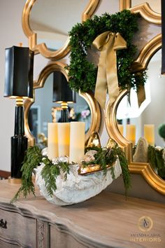 Dining Room seashell with greenery and candles