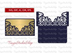 Scroll Wedding Envelope - SVG, DXF, ai, CRD, eps - Commercial - Vintage Lace Crochet  - Laser Cut Silhouette Cameo - Instant Download 004 by TanyaStudioShop on Etsy