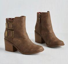 Brown buckle booties