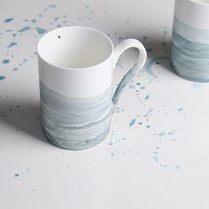 Hand painted porcelain mug by OLGA KABIE @olgakabie #bonechina #olgakabie #mug #blue #ocean #gift #porcelain #sea