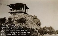 vintage postcard - East Peak fire lookout, still there, still looks the same today