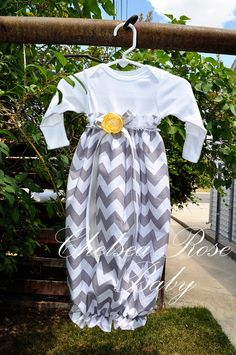 Baby Girl Onesie Dress, Baby Girl Dress, Chevron print, Designer Sleep Gown, Layette, Baby Nightgown, Newborn Sleep Sack, Baby Girl Onesie. $28.00, via Etsy.