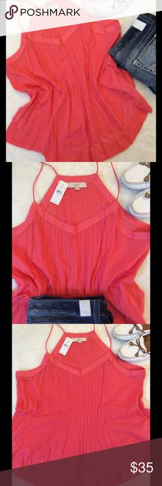 🍉NWT LOFT Watermelon Pink Babydoll Tank 🍉NWT LOFT $44.50 Size XL Watermelon Pink Spaghetti Straps Pleated front 100% Cotton 27in Top shoulder strap to hem 23in Armpit to Armpit unstretched  24in Armpit to Armpit stretched  Bottom opening approx. 31in LOFT Tops Tank Tops