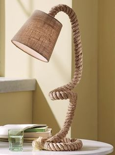 "Nautical Task Lamp from Country Door - Lamp base is made with thick rope; a burlap fabric shade completes the nautical look. 60"" power cord with in-line on/off switch:"