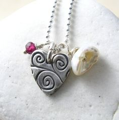 Silver Heart Necklace Keishi Pearl Jewelry by newhopebeading, $36.00
