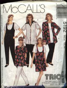 McCall's Sewing Pattern 5192 Misses Size 8-10 Easy Maternity Wardrobe Shirt Top Jumpsuit Pants