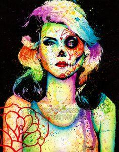 Blondie Day of the Dead Splatter Portrait Art Print by Carissa Rose