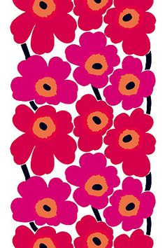 Marimekko Unikko Red Canvas Fabric The Marimekko Unikko flower fabric has red and pink flowers with orange centers and black stems. This popular Marimekko design was created by Maija Isola in This fabric can be used for upholster. Motif Art Deco, Marimekko Fabric, Marimekko Wallpaper, Scandinavia Design, Stoff Design, Motif Floral, Pretty Patterns, Textile Patterns, Floral Patterns
