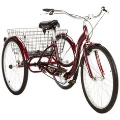 """26"""" Schwinn Meridian Adult Tricycle with Storage Basket, Blue Only 10 In Stock Order Today! Product Description: Experience a new kind of freedom while cycling on the 26"""" Schwinn Meridian Adult Tricyc"""