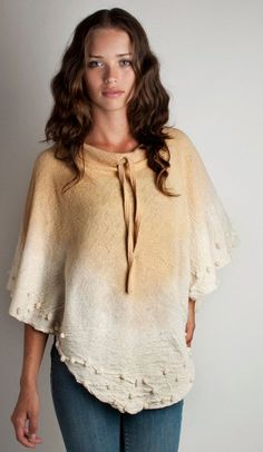 Knit Poncho wool felt with volumes gradient honey gold and beige hand dyed, Autumn cape, Pastel Fashion /// Made to order ///. $98.00, via Etsy.: