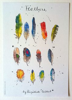 Feathers Art Print from Original Ink and Watercolour Illustration. £10.00, via Etsy.