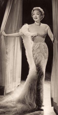 MARLENE DIETRICH OPENING NIGHT SAHARA HOTEL LAS VEGAS 4th October 1955. Vintage still. Jean Louis gown. Minkshmink.