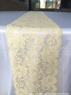 5ft-10ft  Lace Table Runner Soft Yellow 6 in by LovelyLaceDesigns