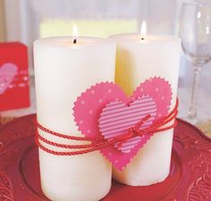 Cut silk cording at 40 inches. Knot ends in front. Cut a and a heart from gift wrap. Slip larger heart under knot. Add smaller one on top. Small One, Valentine Day Crafts, Pillar Candles, Gift Wrapping, Photo And Video, Holiday, Cute, Gifts, Photo Shoots