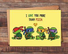 Geeky Valentine's Day cards teenage mutant ninja turtles  #TMNT #valentinesday #geek #nerd