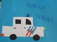 Politieauto. Maak hem geel en het is een ambulance. School Themes, School Fun, Ambulance, Transportation Crafts, Art For Kids, Crafts For Kids, Community Workers, Preschool Lessons, Astronomy
